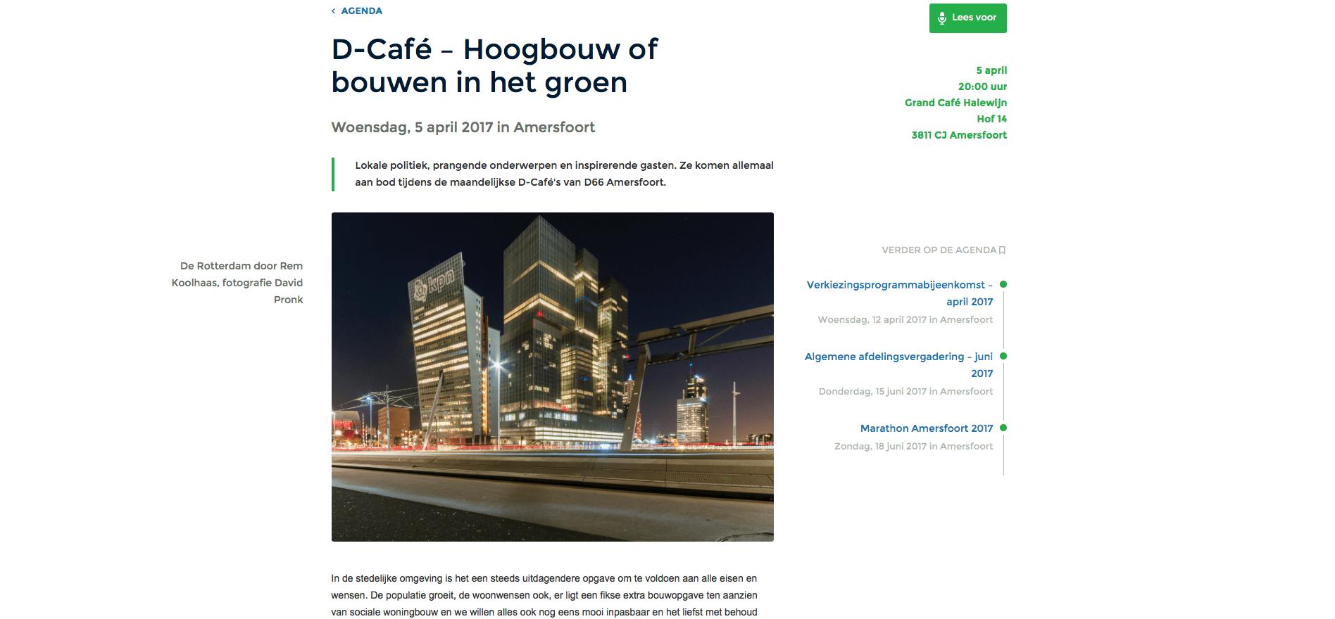 Website D66 Amersfoort: D-Café – Hoogbouw of bouwen in het groen