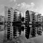 Modern architecture in Den Bosch(Paleiskwartier). Armada buildings by architect Anthony (Tony) Mc Guirk.