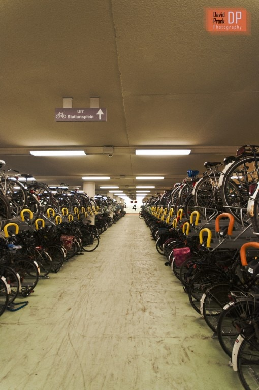 Bicycle parking at Rotterdam Central Station.