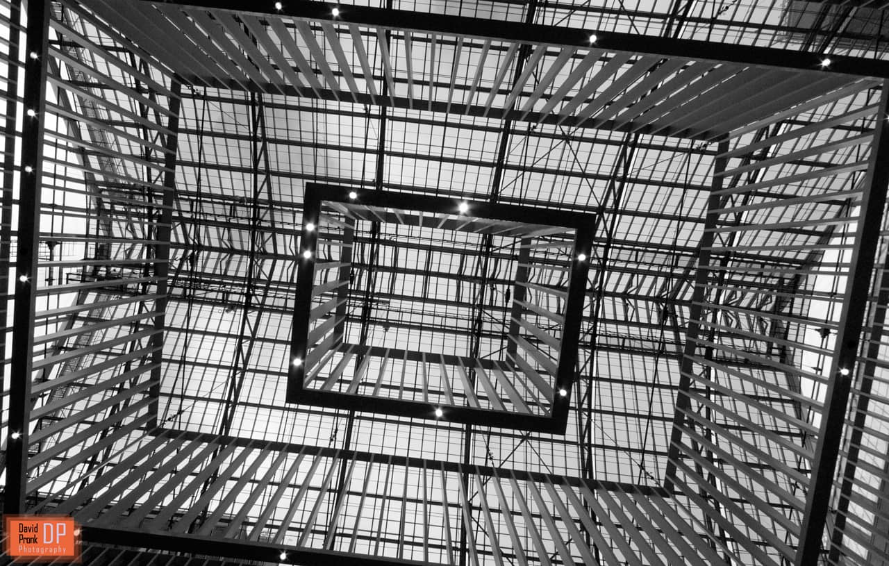 A view at the ceiling of the entrance hall at the Rijksmuseum in Amsterdam.
